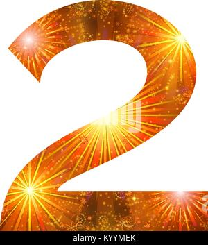 Mathematical sign, number two, stylized gold and orange holiday firework with stars and flares, element for web - Stock Photo