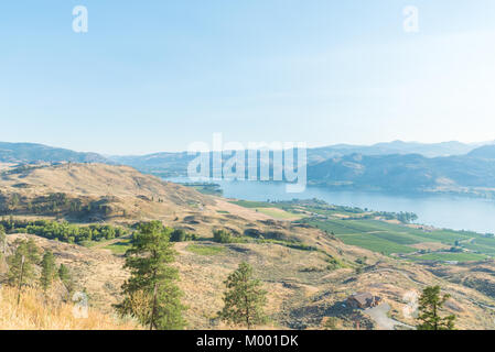 Osoyoos Lake viewed from Anarchist Mountain Viewpoint looking south toward USA border - Stock Photo