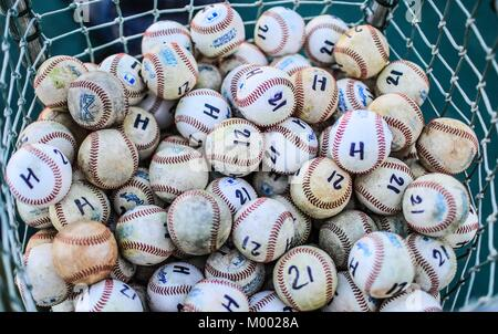 Ball, Baseball balls of Naranjeros de Hermosillo training. Marked with the letter H and number 21 in honor of Hector - Stock Photo
