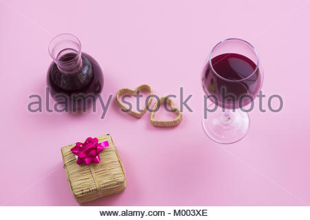 valentines day isolated pink background composition, heart, gift, celebrate, happy new year, happy birthday - Stock Photo
