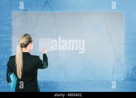 Business woman pressing high tech type of modern buttons on virtual background - Stock Photo
