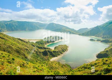Beautiful view of Lagoa do Fogo (Lake of Fire) at Sao Migule, Azores, Porugal. - Stock Photo