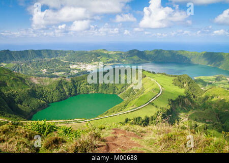 Stunning view from the Miradouro Boca do Inferno of Sete Cidades lakes, with Lagoa Santiago in the foreground and - Stock Photo
