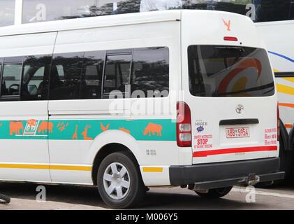 Back of Toyota Hiace bus van, Mosi-Oa-Tunya, Victoria Falls, Zimbabwe. - Stock Photo