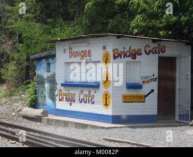 Small bungee jumping 'Bridge Cafe' reception office building near Victoria Falls Bridge on the Zambian side, Victoria - Stock Photo