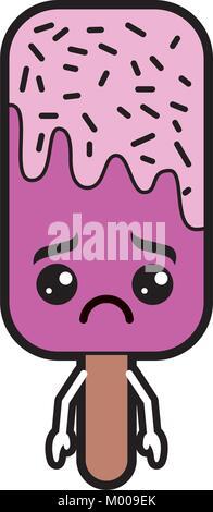 kawaii ice cream stick cartoon character - Stock Photo