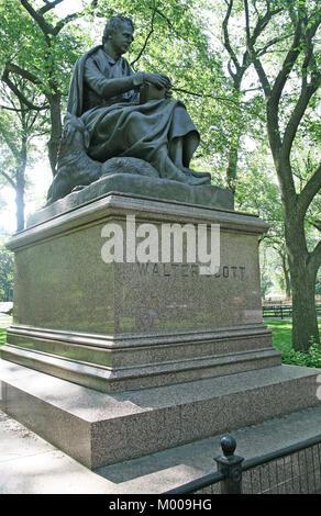 Sir Walter Scott statue, Central Park, New York City, New York State, USA. - Stock Photo