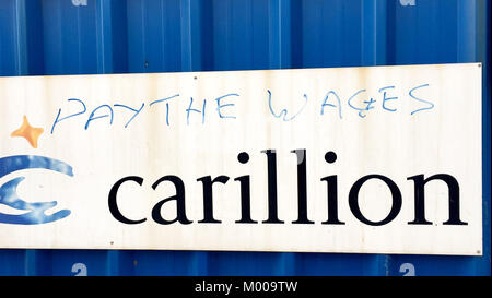 Graffiti at the site of the new £355m Royal Liverpool Hospital, which was being built by Carillion, as their - Stock Photo