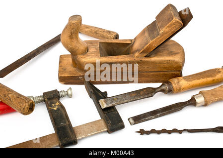 Joinery Tools Isolated on the white Background - Stock Photo