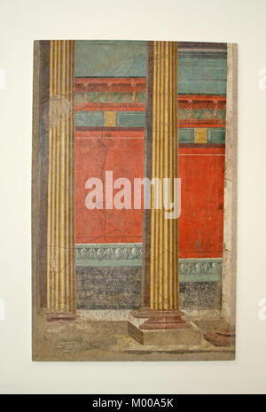 Wall painting with illusionistic architecture from the Late Roman Republican era (50-40 BC), The Metropolitan Museum - Stock Photo