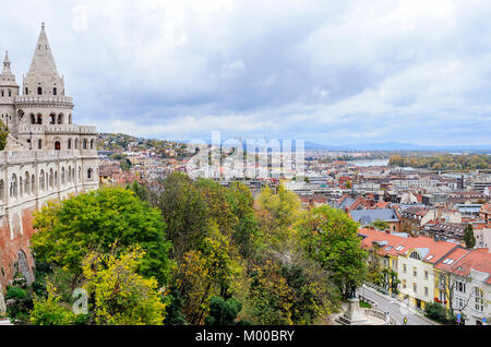 Fishermen's Bastion in Budapest. Observation deck. - Stock Photo