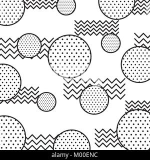 memphis design circles zig zag lines banner abstract geometric pattern decorative - Stock Photo