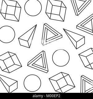 seamless pattern with geometric 3d shapes in memphis style - Stock Photo
