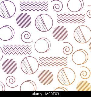 memphis design circles zig zag lines banner abstract geometric pattern decorative - Stock Photo