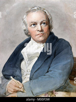 William Blake (1757-1827) the English poet, painter, and printmaker. Copy after Thomas Phillips, watercolour on - Stock Photo