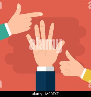 human hand pointing like and palm options - Stock Photo