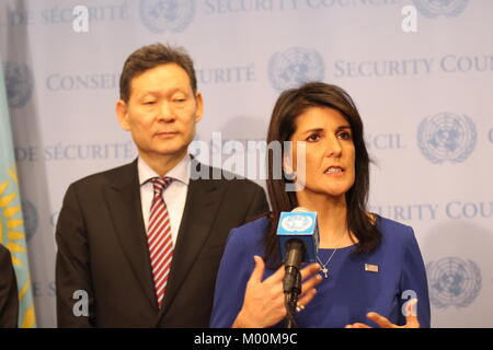 UN, New York, USA. 17th Jan, 2018. Nikki Haley of US briefs press about Afghanistan trip of UN Security Council. - Stock Photo