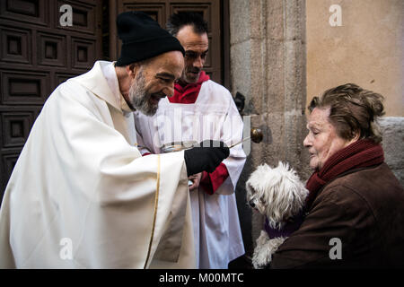 Madrid, Spain. 17th Jan, 2018. A priest blessing a dog in San Anton Church during the celebration of Saint Anthony - Stock Photo