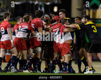 Tempers flare late in the first half during the exhibition match between the Houston SaberCats and the UBCOB Ravens - Stock Photo