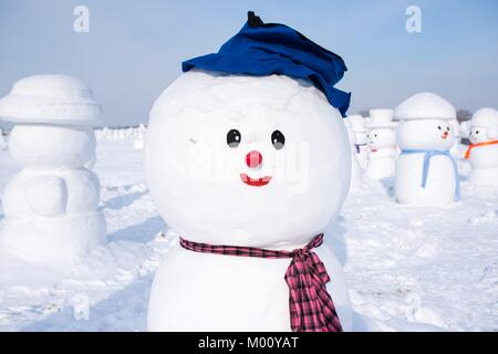 Harbin, Harbin, China. 13th Jan, 2018. Harbin, CHINA-13th January 2018: Approximately 2,018 snowmen can be seen - Stock Photo