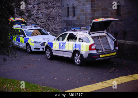 Cardiff Castle, UK. 18th Jan, 2018. Cardiff Castle, UK. Cardiff, UK. 18th Jan, 2018. Security prepare with sniffer - Stock Photo