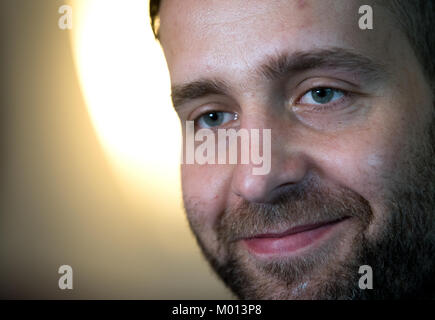 Zagreb, Croatia. 18th Jan, 2018. German goalkeeper Silvio Heinevetter speaks during a press conference in Zagreb, - Stock Photo