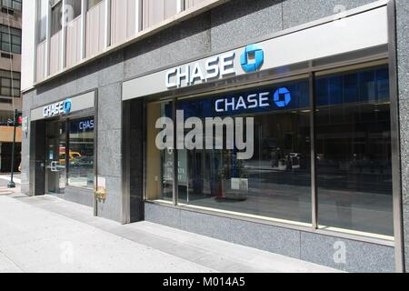 NEW YORK - JULY 4: Chase Bank branch on July 4, 2013 in New York. JPMorgan Chase Bank is one of Big Four Banks of - Stock Photo