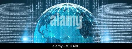 Code binary interface and world globe background - Stock Photo