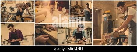 professional woodwork collage - Stock Photo