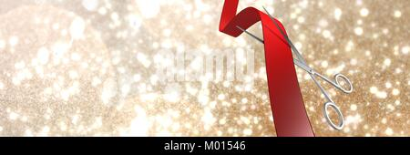 Scissors cutting ribbon with golden stars - Stock Photo