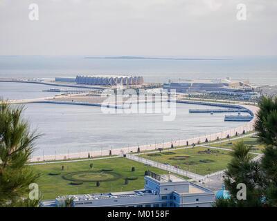 BAKU, AZERBAIJAN-DECEMBER 28, 2017: Panorama of the Baku. View frome above on the Crystal Hall. - Stock Photo