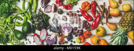 Helathy raw vegan food cooking background, top view - Stock Photo