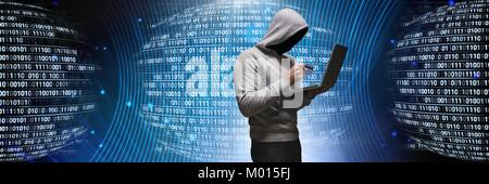 Anonymous hacker with computer code binary interface - Stock Photo