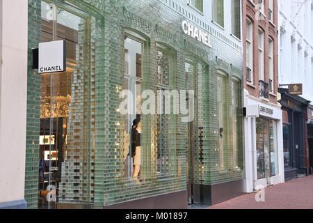 AMSTERDAM, NETHERLANDS - JULY 10, 2017: Chanel fashion shop at P.C. Hooftstraat in Amsterdam. Pieter Cornelis Hooftstraat - Stock Photo