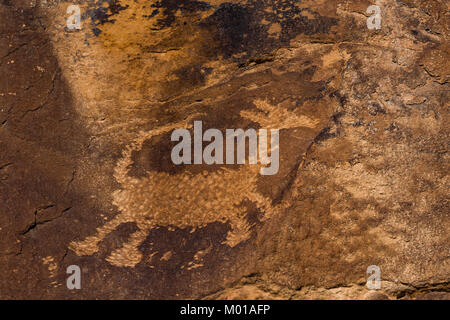 Pictograph of an animal with a long tail in Nine Mile Canyon, Utah, USA - Stock Photo