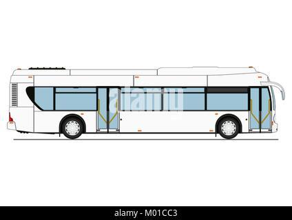 Cartoon City Low Floor Bus. Side View. Flat Vector.   Stock Photo