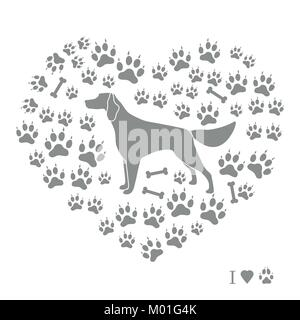 Setter silhouette on background of dog tracks and bones in the form of heart. Design element for postcard, banner, - Stock Photo