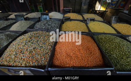 Pulses for sale in the spice market, Jodhpur, Rajasthan, India - Stock Photo