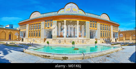 SHIRAZ, IRAN - OCTOBER 12, 2017: Panorama of Qavam House in Naranjestan complex with nice fountain in front of it, - Stock Photo