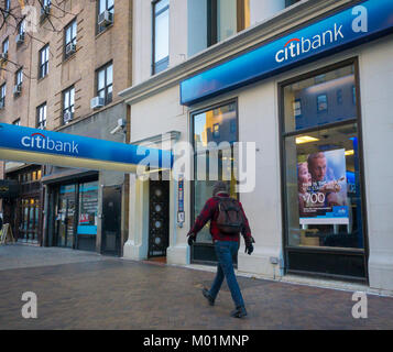 A Citibank branch in Chelsea in New York on Monday, January 15, 2018. Citigroup is scheduled to release its fourth - Stock Photo
