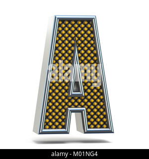 Chrome metal orange dotted font Letter A 3D Stock Photo