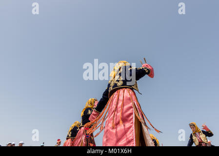 Unidentified women perform a traditional folklore dance with their ethnic clothes.ISTANBUL, TURKEY, May 13, 2017