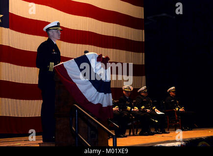 GROTON, Conn. (Jan.12, 2018) Pittsburgh, Pa. native, Cmdr. Jason Deichler, the new commanding officer of the nuclear - Stock Photo