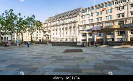 COLOGNE, GERMANY - JUNE 27, 2010: tourists on Domkloster square of Cologne Cathedral in summer day. The Cathedral - Stock Photo