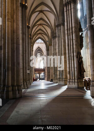 COLOGNE, GERMANY - JUNE 27, 2010: people inside of Cologne Cathedral. The Cathedral is Germany's most visited landmark, - Stock Photo