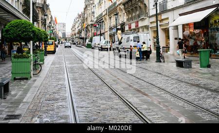 ORLEANS, FRANCE - JULY 9, 2010: people near shops on street Rue de la Republique in Orleans city. Orleans is the - Stock Photo