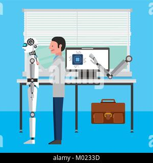 engineer repair artificial intelligence robot workshop - Stock Photo