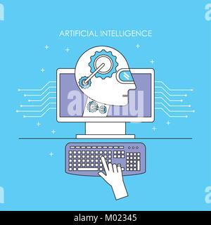 robot computer futuristic artificial intelligence mechanism technology - Stock Photo