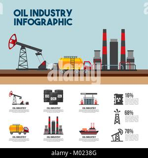 oil industry infographic refinery plant percent petrol - Stock Photo