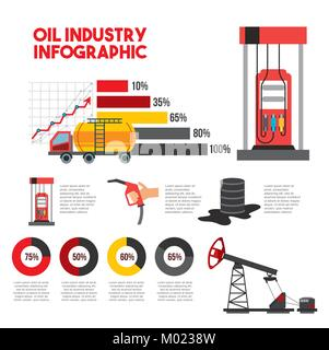 oil industry infographic transport station gas barrel production - Stock Photo